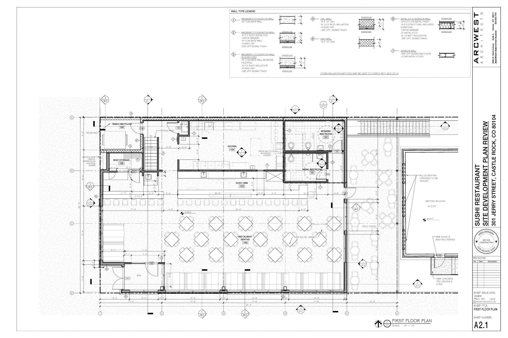 Sushi Restaurant New Construction Arcwest Architects Schematic Design