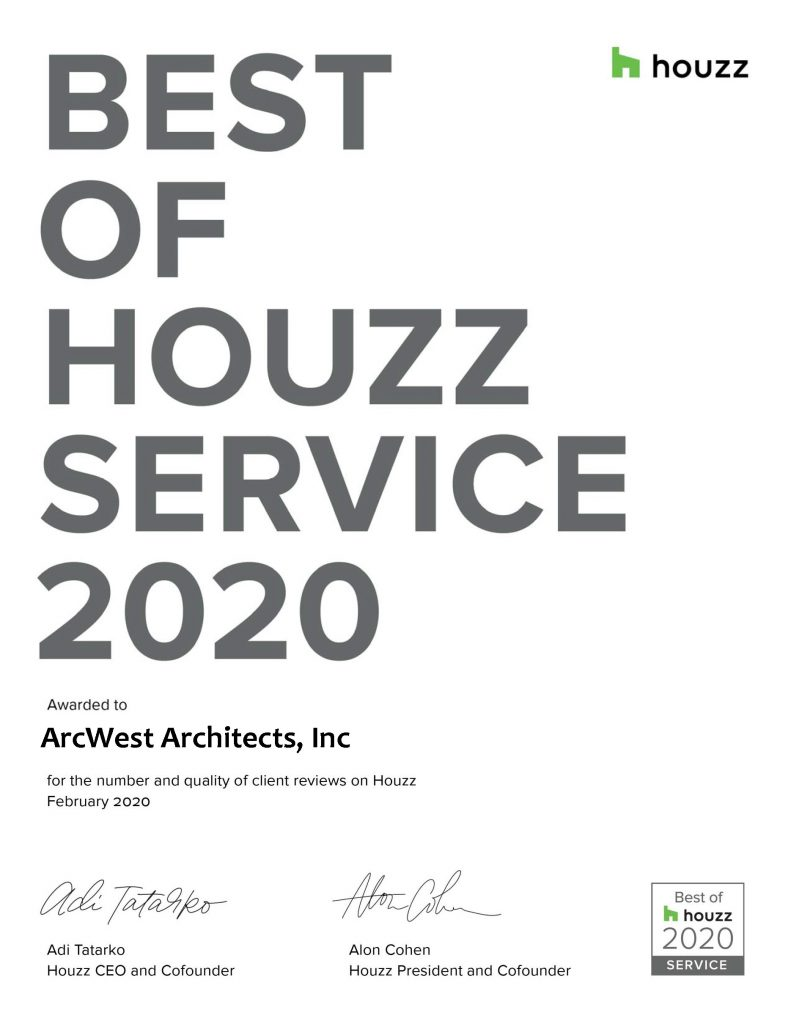US 2020 Best of Houzz Certificate for Service ArcWest Architects