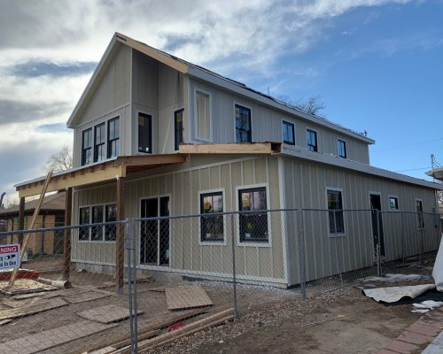 ArcWest-Architects-N-ParkHill-Modern-Farmhouse- process - exterior siding and windows install complete