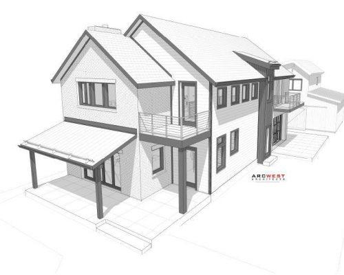 ArcWest Architects Meade St custom urban residence - birdseye street view