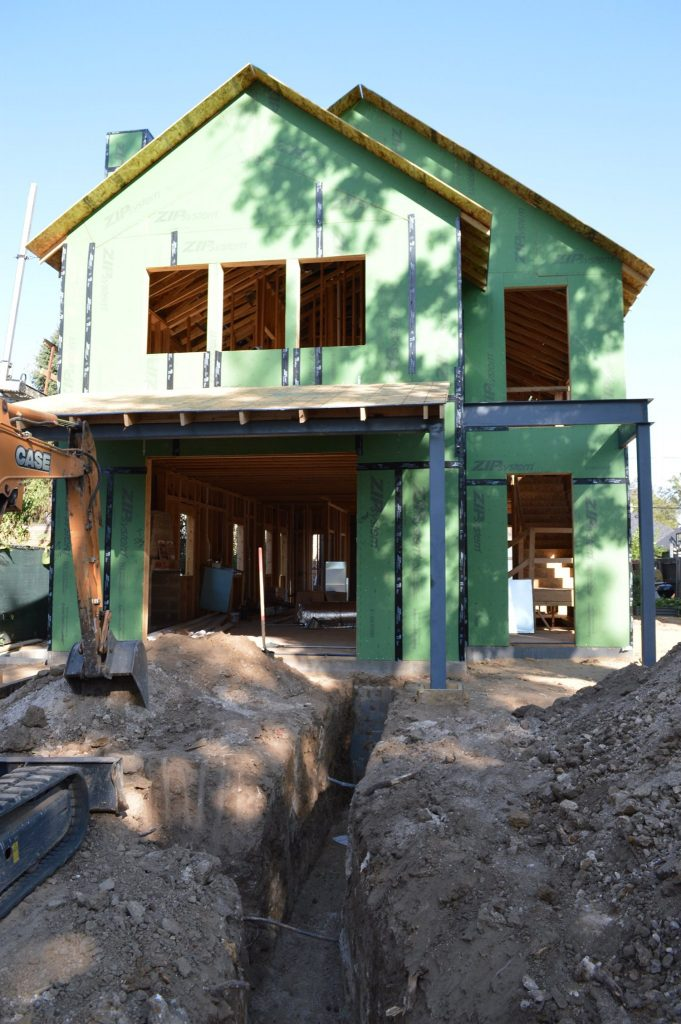 ArcWest Architects Meade St custom urban residence -framing and sheathing complete